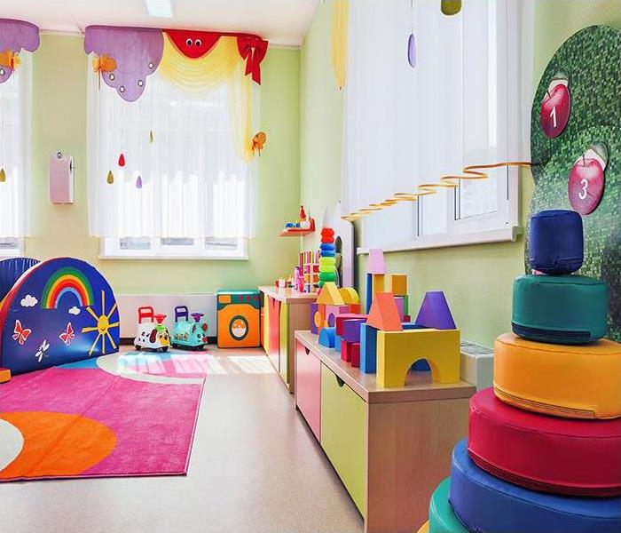 Game room with toys for children.